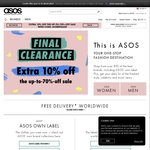 10% off on Top of The 'up to 70% off' Sale at ASOS