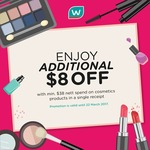 Spend $38 on Cosmetics and Receive an Extra $8 off at Watsons