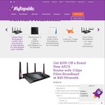 $300 off Router When You Sign-Up MyRepublic 1Gbps Fibre Broadband (24 Months Contract) +$35 Cashback
