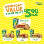 Subway Everyday Value Fresh Meals - $5.90 Each