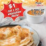 $1 for 2 Pieces of Wholegrain Prata from Prata Wala (26th March - 9am to 11am, NEX) [Facebook/Instagram Required]