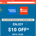 $10 off ($100 Min Spend) at Shopee [American Express Cards, Shopee Rewards Gold Members]
