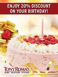 Tony Roma's - 20% Discount for Those with Birthdays in January (Facebook Required)