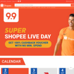 Shopee Live Day - 100% Coin Cashback Code with No Minimum, Capped: 500coins