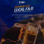 Contribute $10 to support over 450 local F&B outlets. In return, get 2 free Tiger Beers.