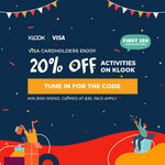 20% off Sitewide ($100 Min Spend) at Klook [Visa]