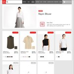 50% off Women's Rayon Short Sleeve and Sleeveless Blouses - $19.90 Each (U.P. $39.90) at UNIQLO