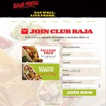 Free Taco with Any Purchase at Baja Fresh Mexican Grill for New Club Baja Members (Plus Free Burrito During Birthday Month)