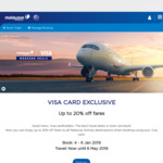 Up to 20% off for Visa Card Holders @ Malaysia Airlines