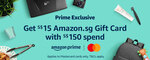 Bonus $15 Gift Card When You Spend $150 at Amazon SG (Mastercard) [Prime Members]