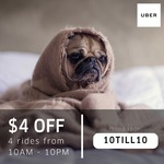 $4 off 4 uberX or uberPOOL Rides with Uber (Monday 22nd to Thursday 25th May, 10am to 10pm)