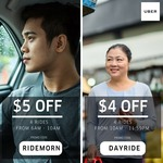$5 off (6am to 10am) or $4 off (10am to 11.59pm) uberX and uberPOOL Rides with Uber (Monday 12th to Thursday 15th June)