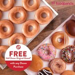Free Half Dozen Orginal Glazed Doughnuts with ANY Dozen Doughnut Purchased at Krispy Kreme via FoodPanda