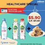Mini Rolls + Evian Bottled Water + 2 Volvic Bottled Water for $5.90 (Usual Price $11.90) for Healthcare Workers @ Jollibean