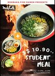 Student Meal for $10.90++ at Menbaka Fire Ramen (Weekdays)
