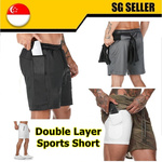 Double Layer Sports Shorts $5.90 + $1.99 Delivery @ CoolStuff6287 via Qoo10