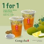 1 for 1 Lemon Winter Melon Drinks with Basil Seeds at Gong Cha