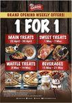 1 for 1 Main Treats, Sweet Treats, Waffle Treats and Beverages at Gelare (Hillion Mall)
