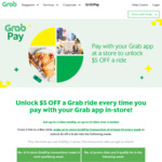 $5 off Grab Rides for Each In-Store GrabPay Payment Over $3 (Up to 3 Rides Per Week)