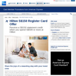 Get a $150 Statement Credit for $500 Spend @ Hilton Hotels (Singapore Airlines/Krisflyer/PPS American Express Cards)