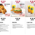 KFC Coupons - 10pcs Chicken: $15, Zinger Meal: $5.30, 2x Regular SJORA: $2