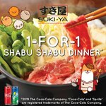 1 for 1 Shabu Shabu at SUKI-YA (Bugis+, Drink Purchase Required, 4pm-9.30pm Only)