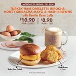 Turkey Ham Omelette Brioche, Honey Sriracha Mayo & Hash Browns w/Vanilla Bean Latte: $10.90 for 2 Sets at Coffee Bean & Tea Leaf