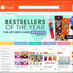 "16% off at Shopee (Capped at $5) for ""Bestsellers of the Year"""