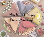 20% off All Crepes and Drinks at iCrepe via Lobang King Club App