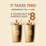 Hazelnut Americano: 2 for $8 at The Coffee Bean & Tea Leaf (Weekdays)