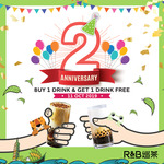 1 for 1 Drinks at R&B Tea