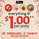 Everything at $1++/Plate at Sushi Express (NEX)