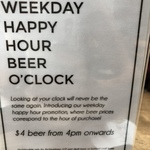 $4 Beer at 4pm with Price Corresponding to Time at Wheeler's Yard