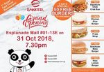 Free Burgers Daily at Hawker QSR (from Thursday 1st November, Esplanade Mall)