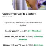 Beerfest Asia 2019 Regular Pass $10, VIP Pass 27/06 & 30/06 $100, VIP Pass 28/06 & 29/06 $140 via Grab App