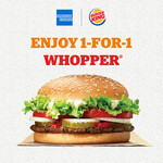 Enjoy 1-for-1 WHOPPER® (A La Carte: S$6.40) When You Pay with Your American Express Card at a Burger King