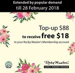Rocky Master Membership - Top Up $88 and Receive a Bonus $18