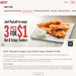3x Hot & Crispy Tenders for $1 with Any Meal Purchase at KFC (DBS PayLah!)