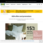 15% off Selected Bed Textiles @ IKEA (1-12/4/2020)