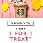 1 for 1 Offer on All Drinks/Beverages at Starbucks (20th to 24th March) for Starbucks Cardholders
