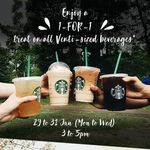 1 for 1 Offer on All Venti-Sized Drinks/Beverages at Starbucks (Monday 29th to Wednesday 31st January, 3pm to 5pm)