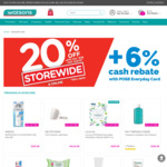 20% off Storewide in-Store and Online with Min $38 Spend + 6% Cash Rebate with POSB Everyday Card @ Watsons