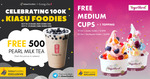 Kiasu Foodies 100K Subs Celebration - Free Gong Cha & 1-For-1 Food Deals in October