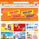 $10 off ($100 Min Spend) or $20 off ($160 Min Spend) Sitewide at Guardian