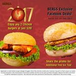 2x Chicken Burgers for $20 + Free Ice Tea at BERGS Gourmet Burgers (Facebook Share Required)