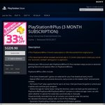 PlayStation Plus 3 Month Membership/Subscription for $9.90 (33% off)