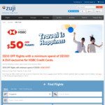 $50 off ($500 Min Spend) Flights at ZUJI (HSBC Cards)