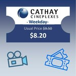 Cathay Cineplexes Movie eVoucher (Weekdays) for $8.20 at shopee.lifestyle via Shopee