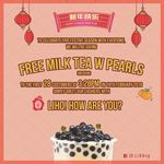 Free Medium Milk Tea with Pearls at LiHo (from 3:28pm, for The First 28 Per Outlet)