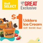 Udders Ice Cream 3oz for $1 (U.P. $4.50) at Shell [UPGREAT Users]